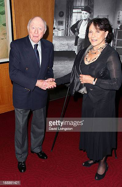 Actors Norman Lloyd and Claire Bloom attend the Academy of Motion Picture Arts and Sciences presentation of the 60th anniversary of Chaplin's...