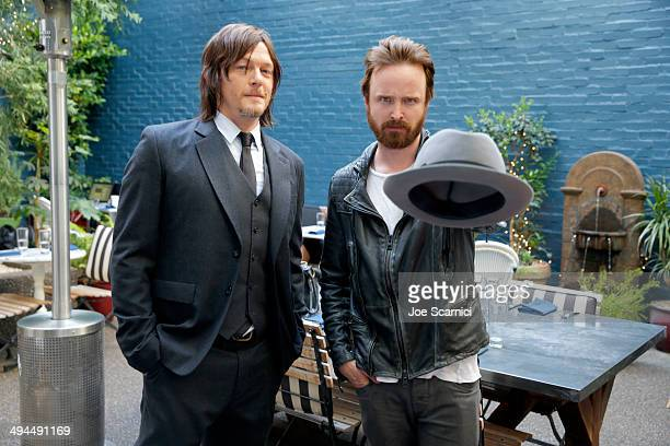 Actors Norman Reedus and Aaron Paul attend the Variety Studio powered by Samsung Galaxy at Palihouse on May 29 2014 in West Hollywood California