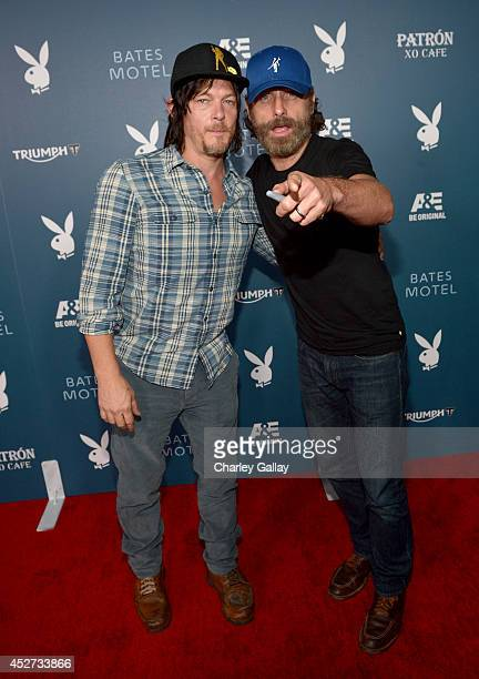 """Actors Norman Reedus and Andrew Lincoln arrive at the Playboy and AE """"Bates Motel"""" Event During ComicCon Weekend on July 25 2014 in San Diego..."""