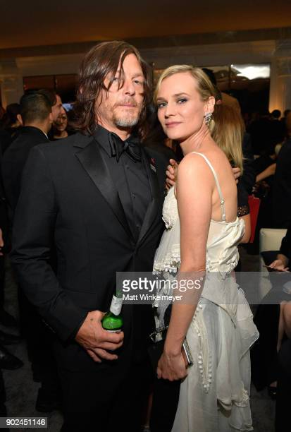 Actors Norman Reedus and Diane Kruger attend the 2018 InStyle and Warner Bros 75th Annual Golden Globe Awards PostParty at The Beverly Hilton Hotel...