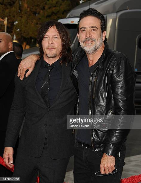 Actors Norman Reedus and Jeffrey Dean Morgan attend the live 90minute special edition of 'Talking Dead' at Hollywood Forever on October 23 2016 in...
