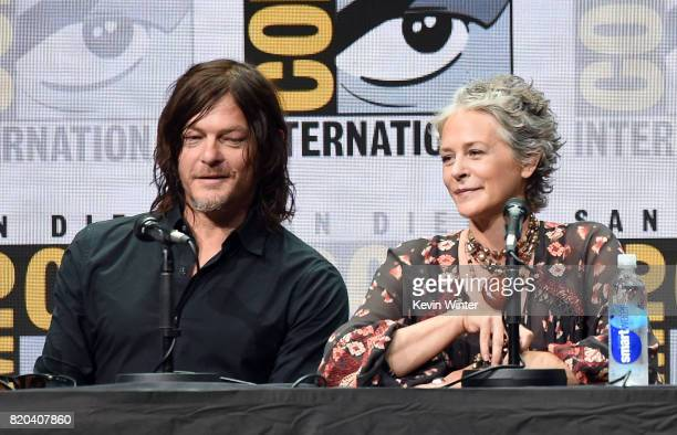 Actors Norman Reedus and Melissa McBride speak onstage at ComicCon International 2017 AMC's 'Fear The Walking Dead' Panel at San Diego Convention...