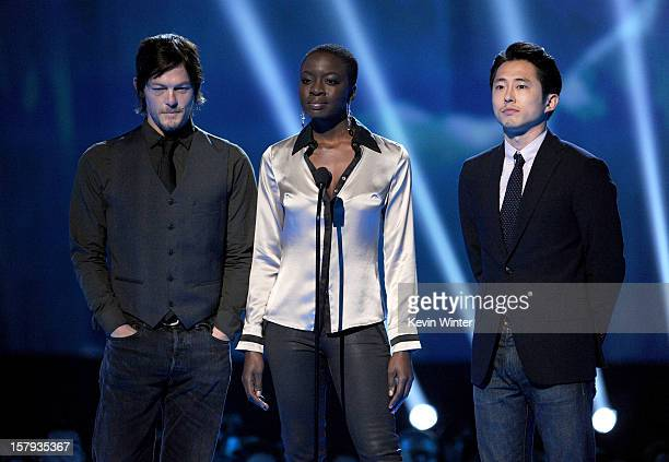 Actors Norman Reedus Danai Gurira and Steven Yeun onstage during Spike TV's 10th annual Video Game Awards at Sony Studios on December 7 2012 in...