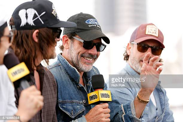 Actors Norman Reedus Jeffrey Dean Morgan and Andrew Lincoln of The Walking Dead attend the IMDb Yacht at San Diego ComicCon 2016 Day Three at The...