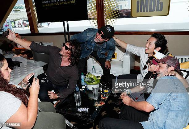 Actors Norman Reedus Jeffrey Dean MorganMake A Wish Kid Ian Steven Yeun and Andrew Lincoln of The Walking Dead attend the IMDb Yacht at San Diego...