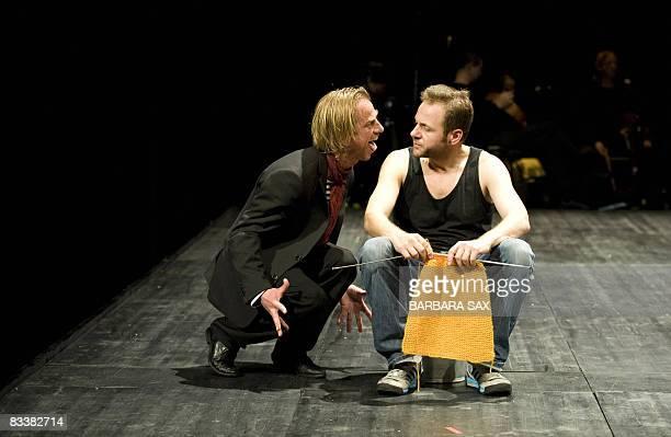 Actors Norwegian born MagneHavard Brekke and Bulgarian born Samuel Finzi rehearse a scene of the play 'Das Pulverfass' by Maceconian screenwrighter...