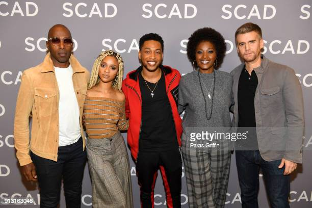 Actors Ntare Guma Mbaho Mwine Tiffany Boone Jacob Latimore Yolonda Ross and Armando Riesco attend a press junket for 'The Chi' on Day 1 of the SCAD...