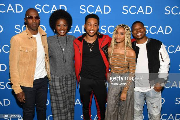 Actors Ntare Guma Mbaho Mwine Yolonda Ross Jacob Latimore Tiffany Boone and Jason Mitchell attend a screening and QA for 'The Chi' on Day 1 of the...