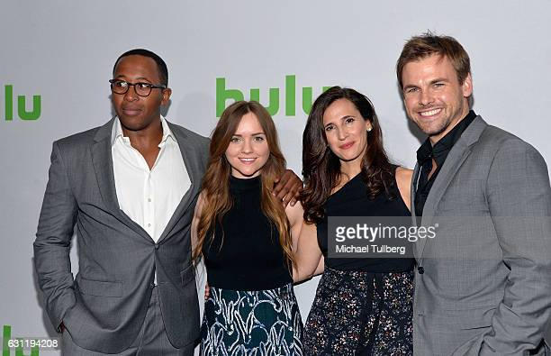 Actors Nyasha Hatendi Tara Lynne Barr Michaela Watkins and Tommy Dewey attend the Hulu TCA Winter Press Tour Day at Langham Hotel on January 7 2017...