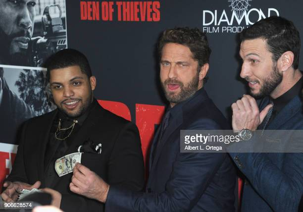Actors O 'Shea Jackson Jr Gerard Butler and Pablo Schreiber arrive for the Premiere Of STX Films' 'Den Of Thieves' held at Regal LA Live Stadium 14...