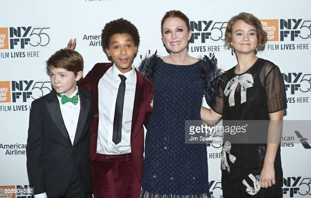 Actors Oakes Fegley Jaden Michael Julianne Moore and Millicent Simmonds attend the 55th New York Film Festival 'Wonderstruck' premiere at Alice Tully...
