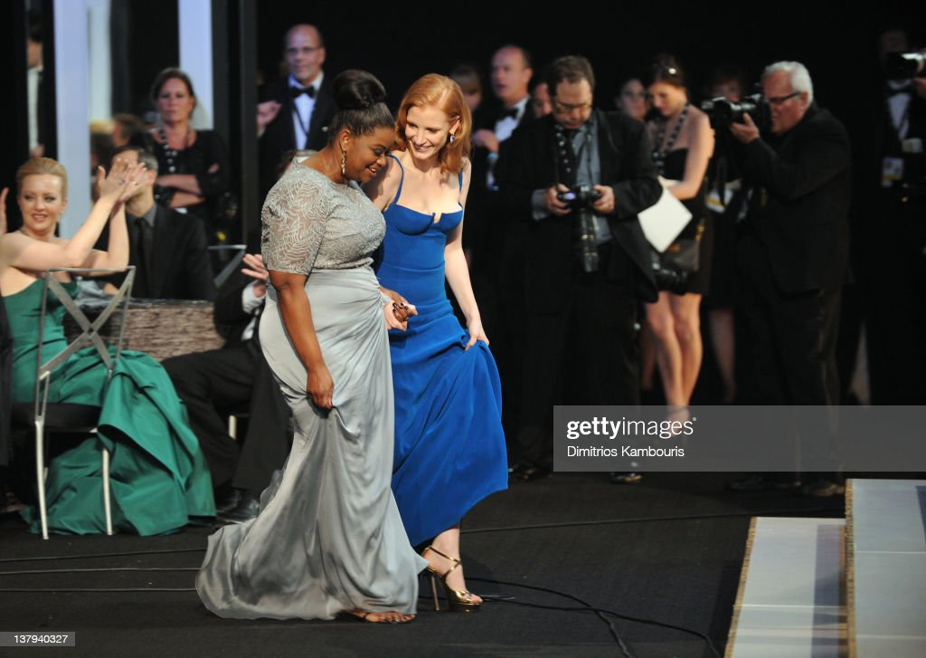 Actors Octavia Spencer and Jessica Chastain attend The 18th Annual Screen Actors Guild Awards broadcast on TNT/TBS at The Shrine Auditorium on January 29, 2012 in Los Angeles, California. (Photo by Dimitrios Kambouris/WireImage) 22005_008_DK_0705.JPG