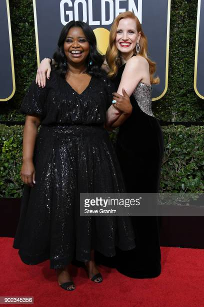 Actors Octavia Spencer and Jessica Chastain attend The 75th Annual Golden Globe Awards at The Beverly Hilton Hotel on January 7 2018 in Beverly Hills...