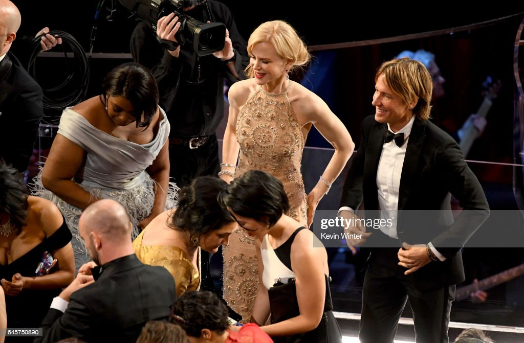 Actors Octavia Spencer and Nicole Kidman and musician Keith Urban in the audience during the 89th Annual Academy Awards at Hollywood & Highland Center on February 26, 2017 in Hollywood, California.