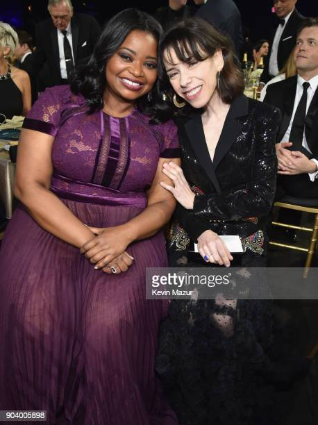 Actors Octavia Spencer and Sally Hawkins attend The 23rd Annual Critics' Choice Awards at Barker Hangar on January 11 2018 in Santa Monica California