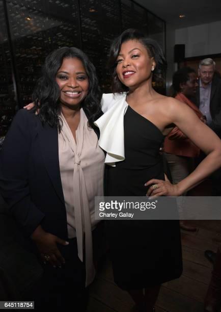 "Actors Octavia Spencer and Taraji P. Henson attend Vanity Fair and Genesis Celebrate ""Hidden Figures"" on February 24, 2017 in Los Angeles, California."