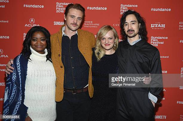 Actors Octavia Spencer Boyd Holbrook and Elisabeth Moss and writer/director Jason Lew attend the The Free World Premiere during the 2016 Sundance...