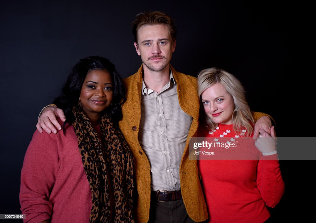 Actors Octavia Spencer, Boyd Holbrook and Elisabeth Moss from the film 'The Free World' poses for a portrait during the WireImage Portrait Studio hosted by Eddie Bauer at Village at The Lift on January 25, 2016 in Park City, Utah.