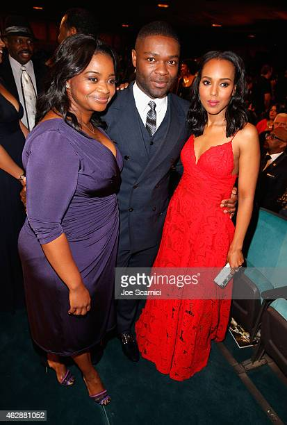Actors Octavia Spencer David Oyelowo and Kerry Washington attend the 46th NAACP Image Awards presented by TV One at Pasadena Civic Auditorium on...