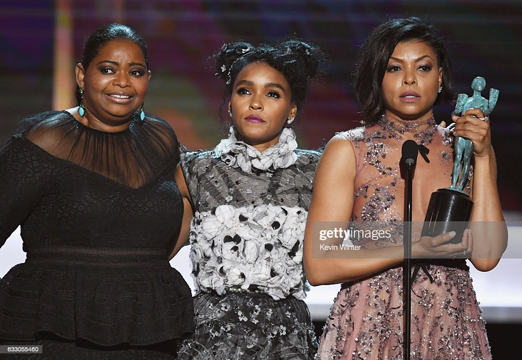 Actors Octavia Spencer, Janelle Monae and Taraji P. Henson accept Outstanding Performance by a Cast in a Motion Picture for 'Hidden Figures' onstage during The 23rd Annual Screen Actors Guild Awards at The Shrine Auditorium on January 29, 2017 in Los Angeles, California. 26592_014