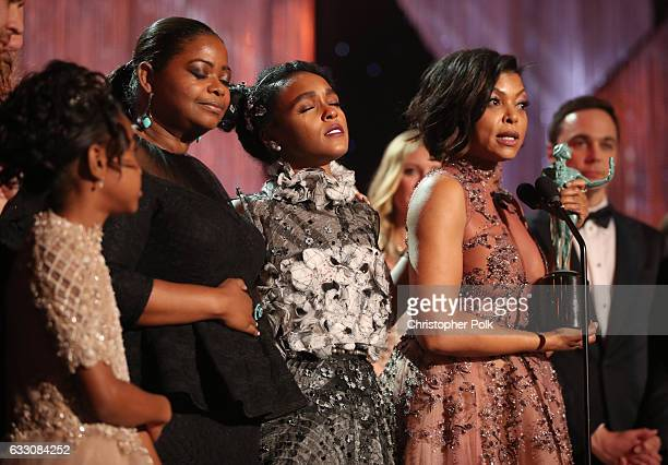 Actors Octavia Spencer Janelle Monae and Taraji P Henson attend The 23rd Annual Screen Actors Guild Awards at The Shrine Auditorium on January 29...