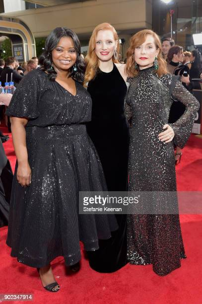 Actors Octavia Spencer Jessica Chastain and Isabelle Huppert attend The 75th Annual Golden Globe Awards at The Beverly Hilton Hotel on January 7 2018...