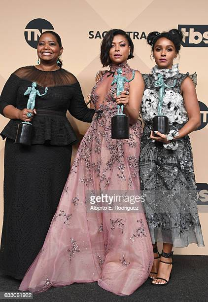 Actors Octavia Spencer, Taraji P. Henson and Janelle Monae co-recipients of the Outstanding Performance by a Cast in a Motion Picture award for...