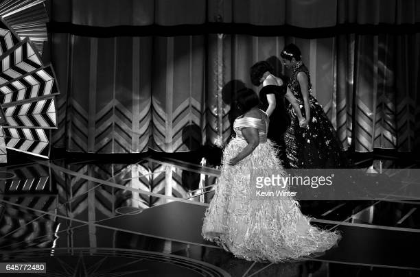 Actors Octavia Spencer Taraji P Henson and Janelle Monae onstage during the 89th Annual Academy Awards at Hollywood Highland Center on February 26...