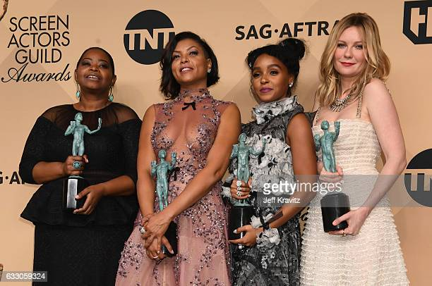 Actors Octavia Spencer, Taraji P. Henson, Janelle Monae and Kirsten Dunst, winners of the Outstanding Cast in a Motion Picture award for 'Hidden...