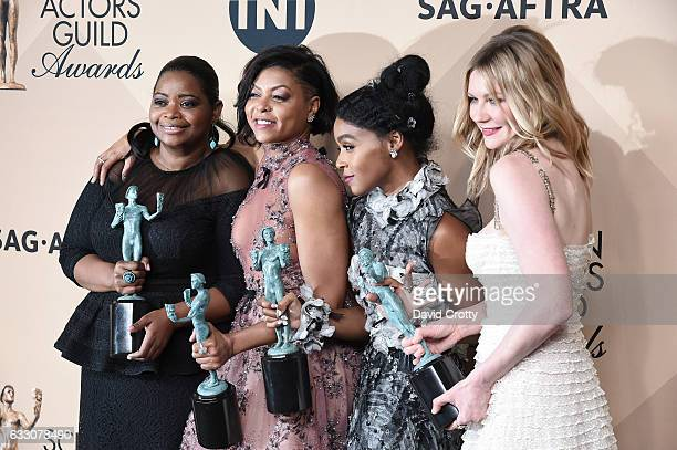 Actors Octavia Spencer Taraji P Henson Janelle Monae and Kirsten Dunst corecipients of the Outstanding Performance by a Cast in a Motion Picture...
