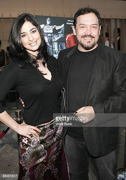 Actors Odalys Garcia and Marco Flores attend the West Coast premiere of the film Matando Cabos on August 22 2005 at the Eygptian Theatre in Hollywood...