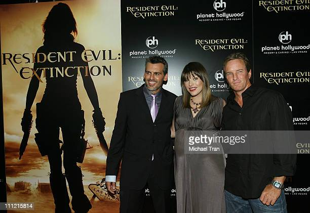 Actors Oded Fehr Milla Jovovich and Linden Ashby arrives at the World Premiere of 'Resident Evil Extinction' at Planet Hollywood Resort and Casino on...