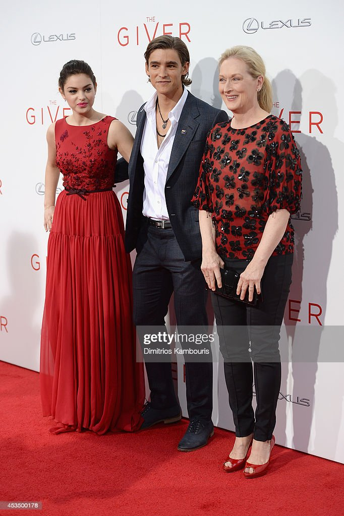 Actors Odeya Rush, Brenton Thwaites and Meryl Streep attend 'The Giver' premiere at Ziegfeld Theater on August 11, 2014 in New York City.