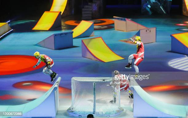 Actors of Cirque du Soleil performs during the Crystal ice show presentation in Kyiv Ukraine February 13 2020 Canadian circus Cirque du Soleil visits...