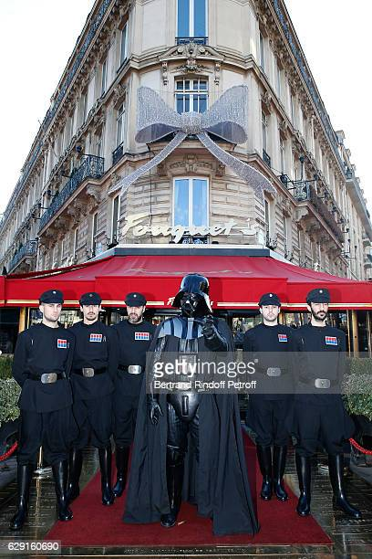 Actors of Darth Vader and his Lieutenants try their costumes at Le Fouquet's ahead of Rogue One A Star Wars Story Film that will be released in Paris...