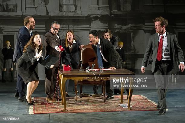 Actors of La Resentida Chilean theatre company perform during a rehearsal of the play 'La Imaginacion del futuro' written by La Resentida company and...