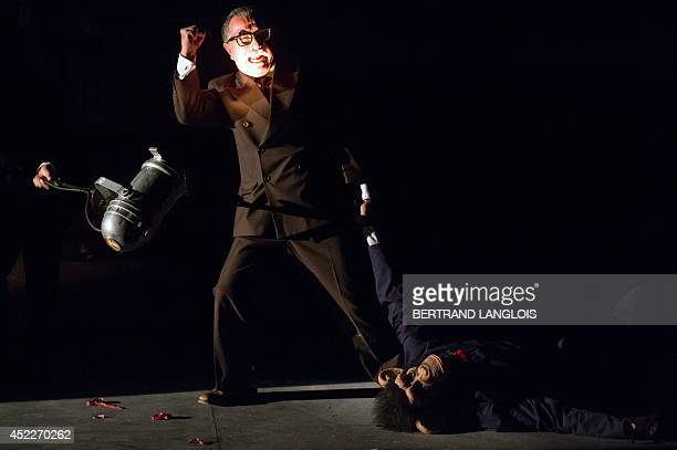 Actors of La Resentida Chilean theatre company perform during a rehearsal of the play 'La Imaginacion del futuro' written by La Resentida company and...