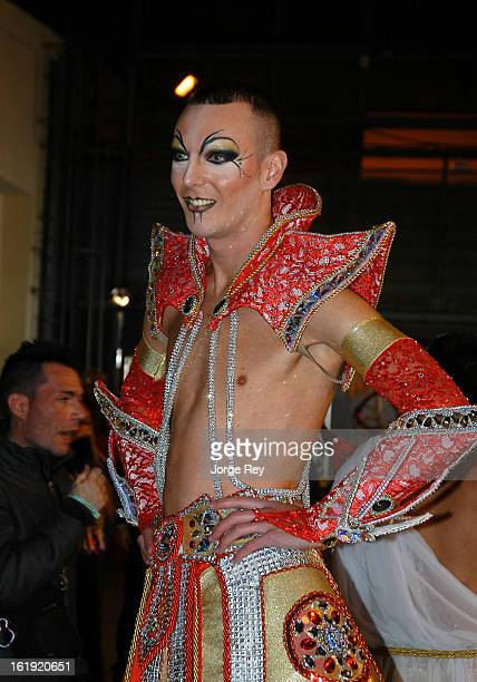 Actors of the Drag Queen Gala prepare to go on stage during the Carnival February 14 2013 in Las Palmas de Gran Canaria Spain