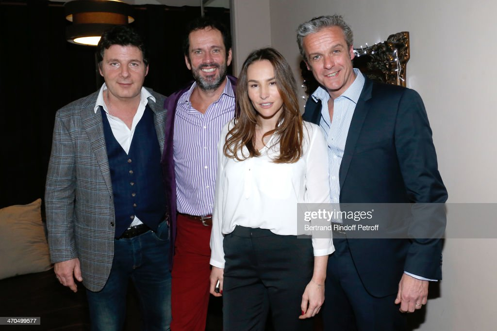 Actors of the drama (L-R) Philippe Lellouche (autor of the drama), Christian Vadim, Vanessa Demouy and David Brecourt pose after the 'L'appel de Londres' theatrical premiere at Theatre Du Gymnase on February 19, 2014 in Paris, France.