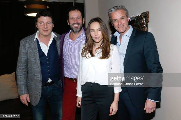 Actors of the drama Philippe Lellouche Christian Vadim Vanessa Demouy and David Brecourt pose after the L'appel de Londres theatrical premiere at...