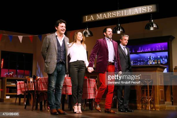 Actors of the drama Philippe Lellouche his wife Vanessa Demouy Christian Vadim and David Brecourt pose on stage at the end of the L'appel de Londres...