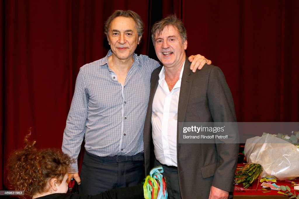 Actors of the drama Richard Berry and Daniel Auteuil after the last theater play of 'Nos Femmes' at 'Theatre de Paris' on February 16, 2014 in Paris, France. With 150 performances for 160000 spectators, this drama made a 'complete gauge' and has been the triumph of 2013.