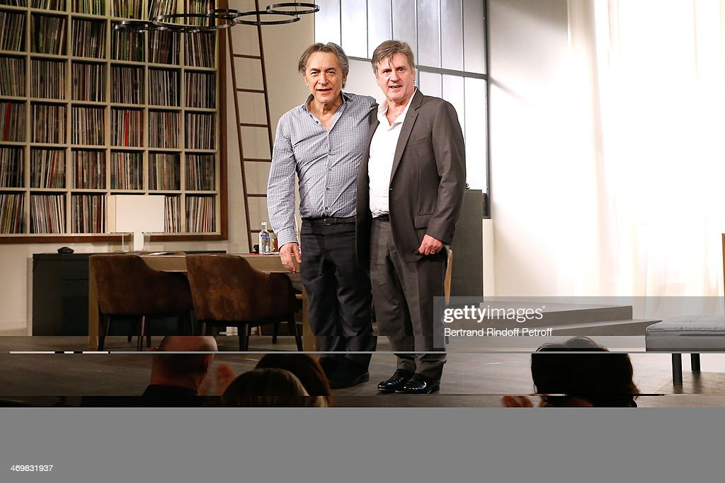 Actors of the drama Richard Berry and Daniel Auteuil at the end of the last theater play of 'Nos Femmes' at 'Theatre de Paris' on February 16, 2014 in Paris, France. With 150 performances for 160000 spectators, this drama made a 'complete gauge' and has been the triumph of 2013.