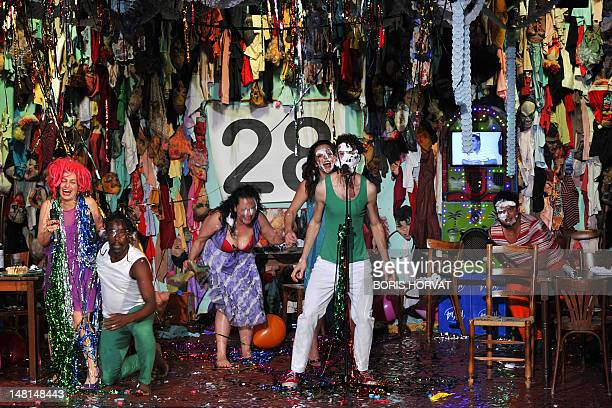 Actors of the Mapa Teatro from Bogota perform during a rehearsal of the play Los Santos Inocentes first part of a tryptic written by Rolf and Heidi...
