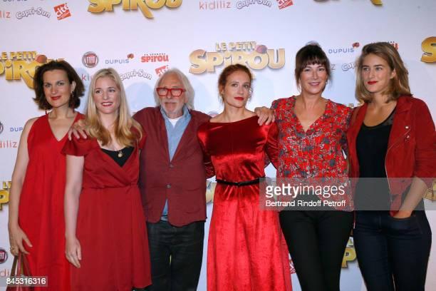 """Actors of the movie Armelle Lesniak, Natacha Regnier, Pierre Richard, Gwendolyn Gourvenec, Virginie Hocq and Juliette Aver attend the """"Le Petit..."""