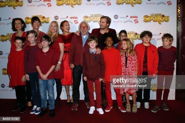 "Actors of the movie Armelle Lesniak, Virginie Hocq, Natacha Regnier, Gwendolyn Gourvenec, Pierre Richard, ""Le Petit Spirou"" Sacha Pinault, Director..."