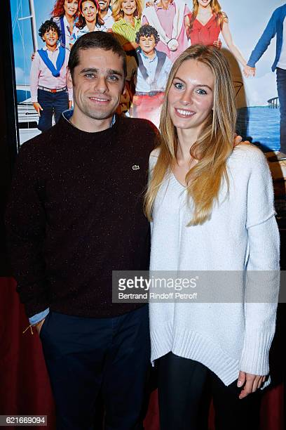 Actors of the movie Arthur Dupont and Alicia Endemann attend the 'Ma famille t'adore deja' Paris Premiere at Cinema Elysee Biarritz on November 7...
