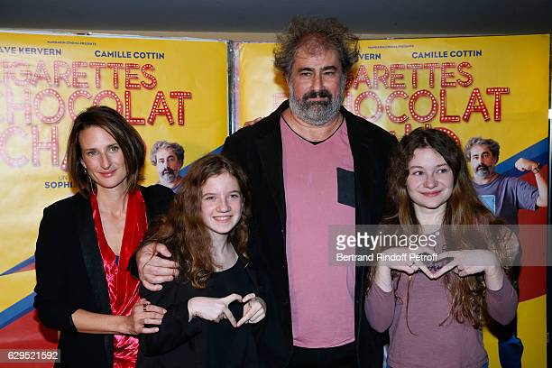 Actors of the movie Camille Cottin Fanie Zanini Gustave Kervern and Heloise Dugas attend the Cigarettes Chocolat Chaud Paris Premiere at UGC Cine...