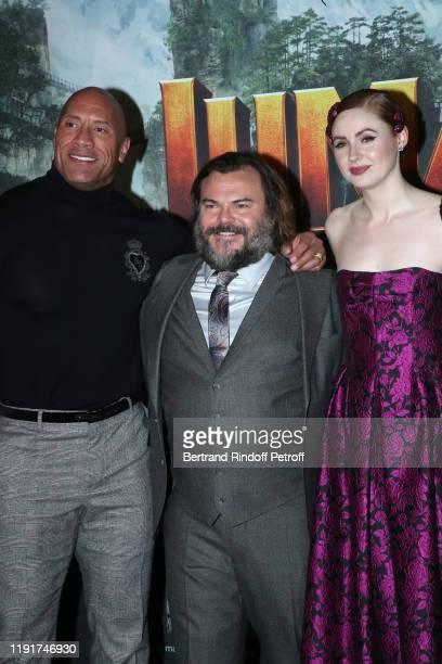Actors of the movie Dwayne Johnson Jack Black and Karen Gillan attend the photocall of the Jumanji Next Level film at le Grand Rex on December 03...