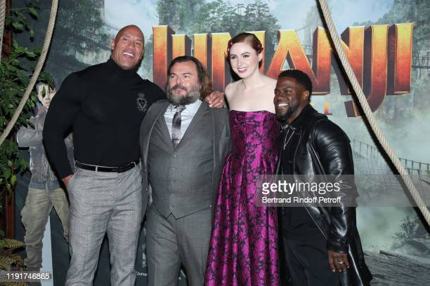 Actors of the movie Dwayne Johnson Jack Black Karen Gillan and Kevin Hart attend the photocall of the Jumanji Next Level film at le Grand Rex on...